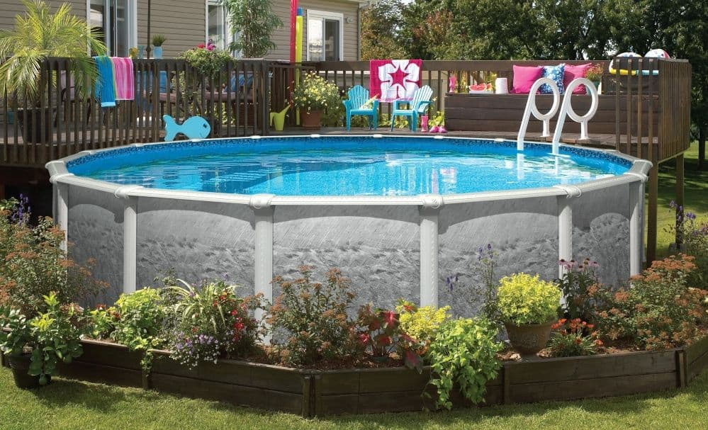 above ground pool in garden