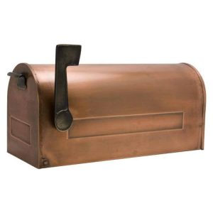 SH Naiture Oversized Traditional Copper Post Mount Mailbox With Brass Flag