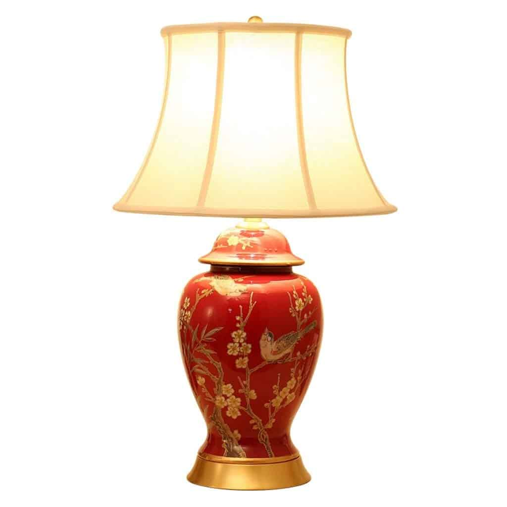 Chinese Style Painting Flower and Bird Ceramic Copper Table Lamp