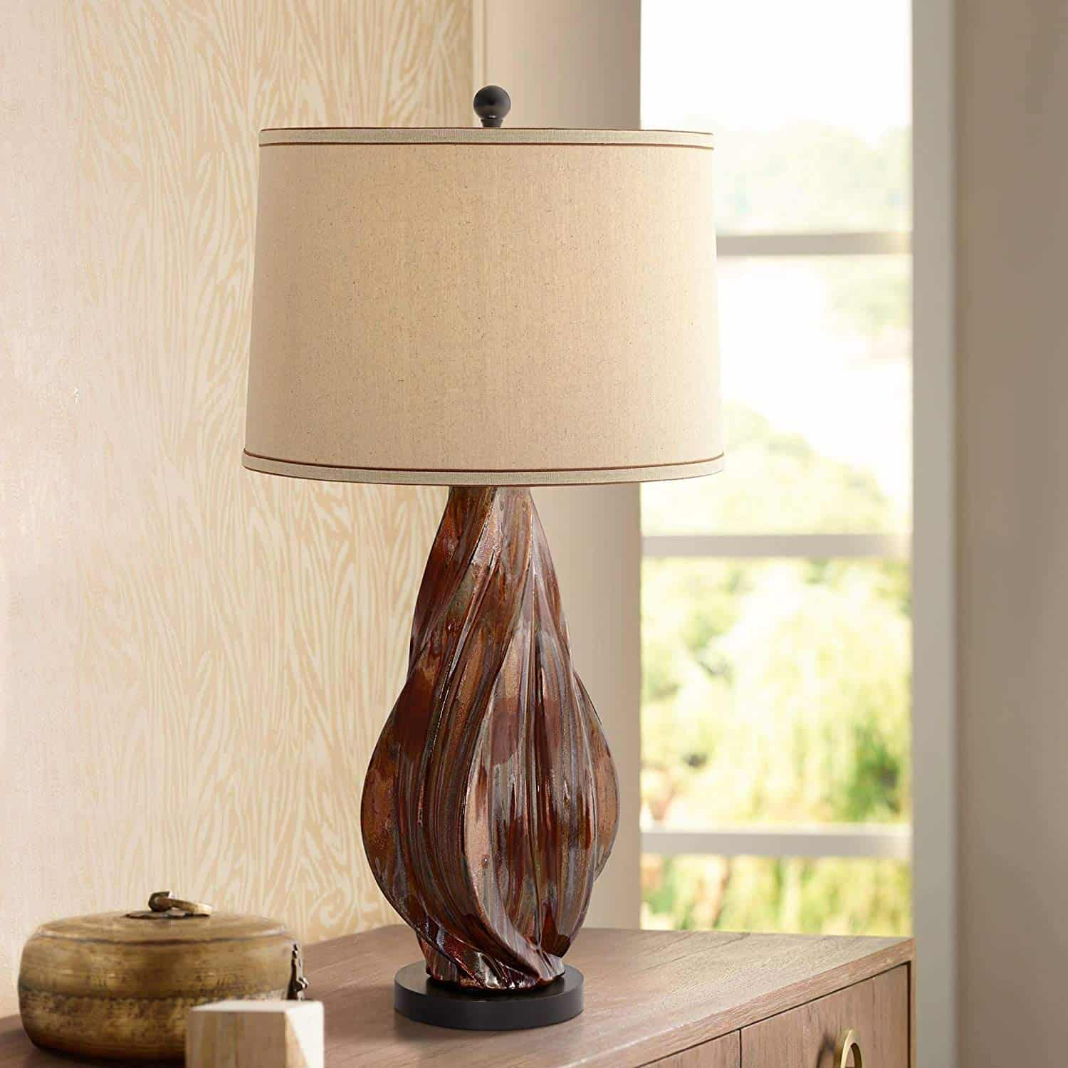 Teresa Mid Century Modern Table Lamp Ceramic Copper Brown