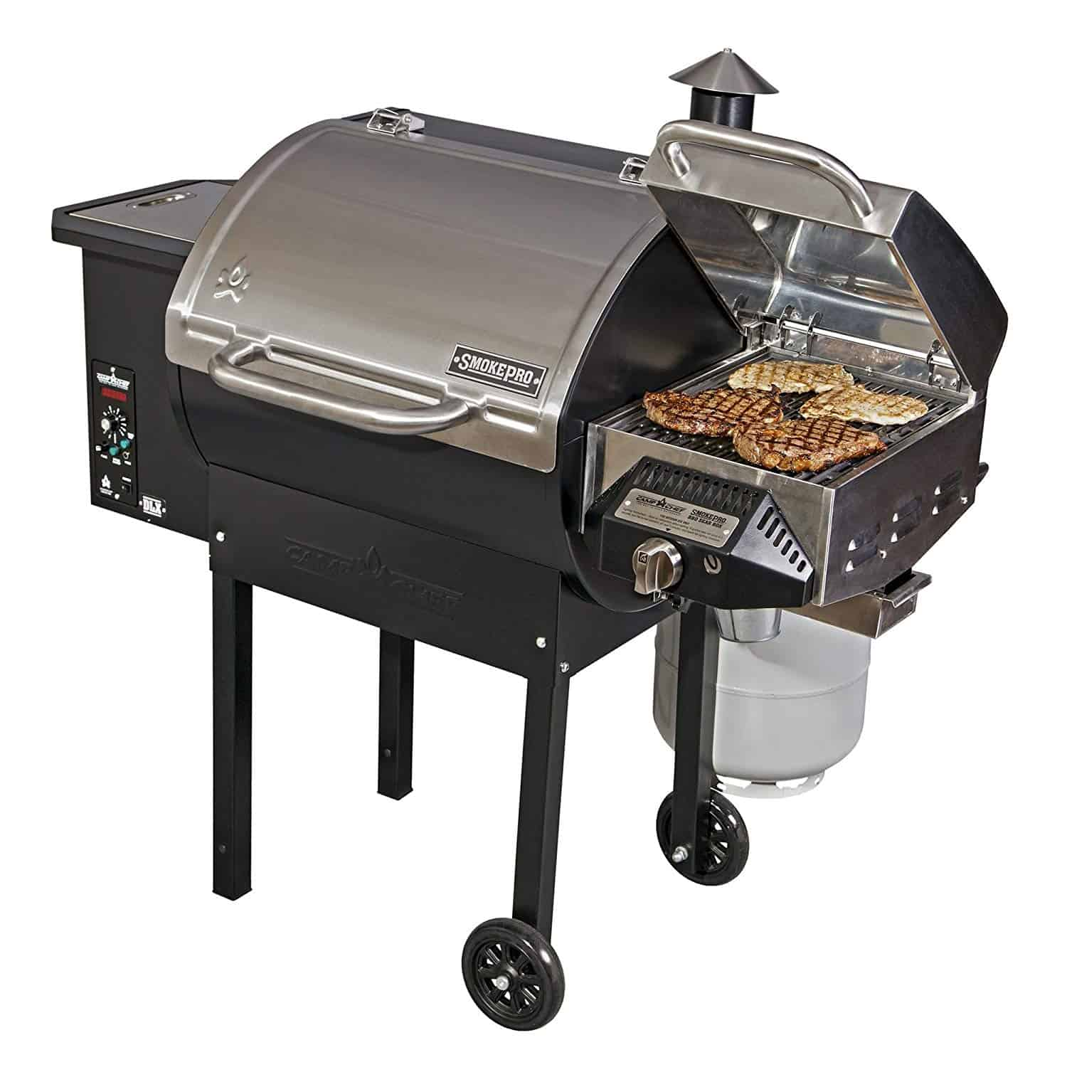 Camp Chef SmokePro DLX PG24B Pellet Grill (Bronze) with Sear Box