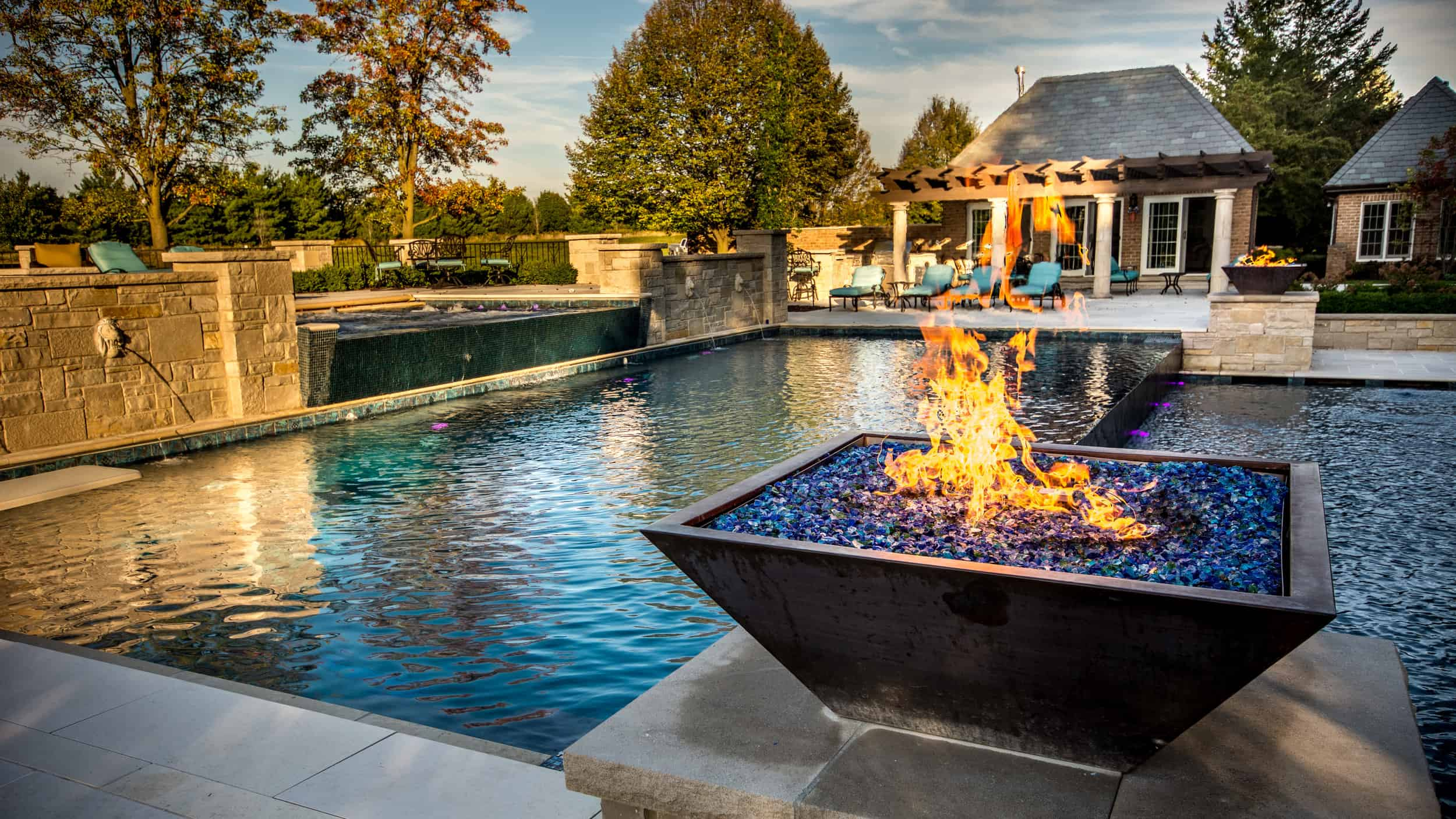 Fire bowl near pool