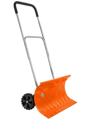 ivation heavy duty rolling snow pusher/shovel
