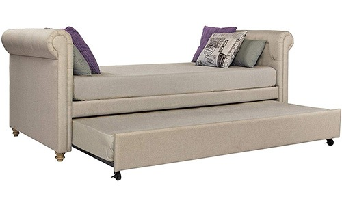 dhp sophia upholstered sofa bed with trundle