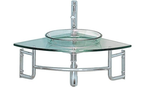 fresca bath ordinato corner mount glass vanity