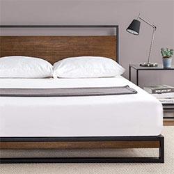 zinus suzanne metal and wood platform bed