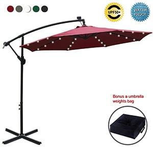 abccanopy 10 ft solar powered led patio outdoor umbrella
