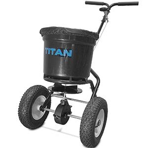 titan 50 lb. fertilizer broadcast spreader