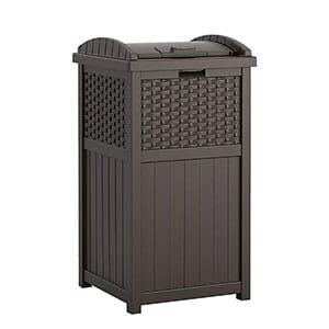 suncast 33 gallon hideaway can resin outdoor trash